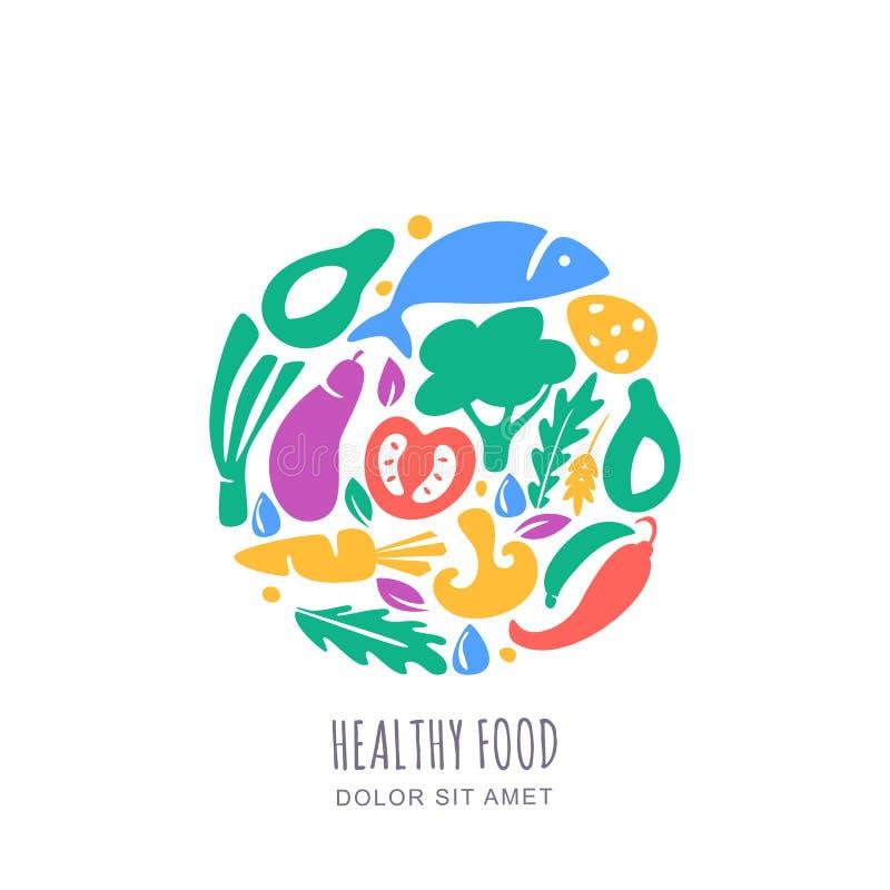 Las verduras del vector comercializan o cultivan el logotipo de la tienda, simbolizan, etiquetan la plantilla del diseño Concepto ilustración del vector