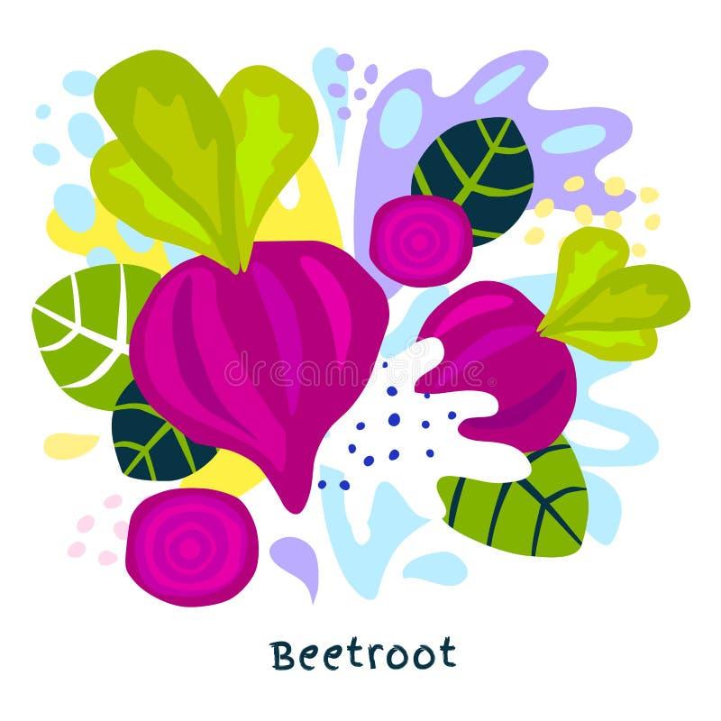 Las verduras jugosas de las remolachas del jugo vegetal del alimento biológico fresco del chapoteo salpican en vector abstracto d stock de ilustración