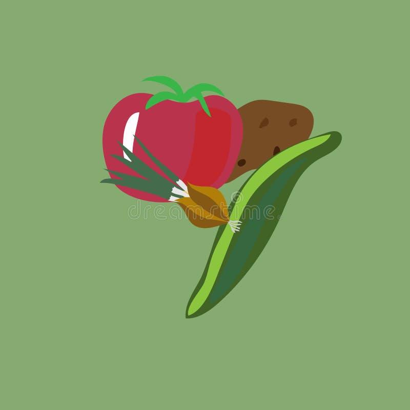 Las verduras mienten en un montón en un vector fotografía de archivo