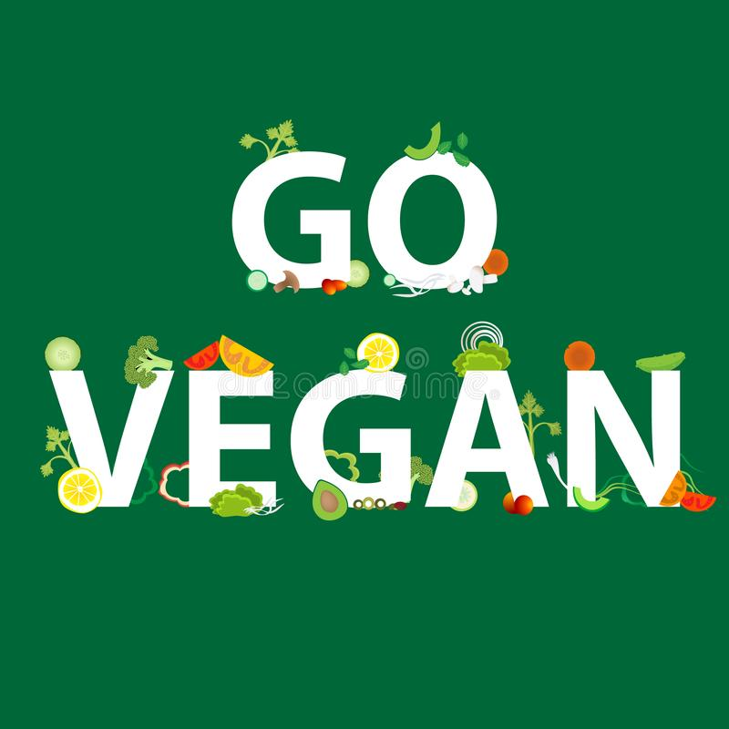 Las verduras modelan con una inscripción van vegano para la decoración de la web y de la impresión, vector, comida sana ilustración del vector