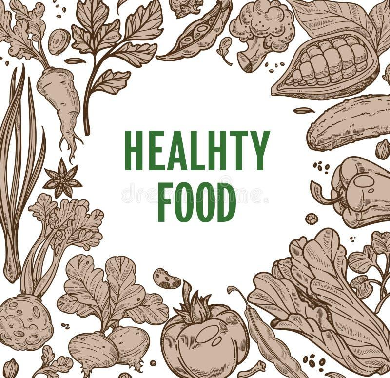Las verduras sanas de la granja de la comida enmarcan el producto orgánico stock de ilustración