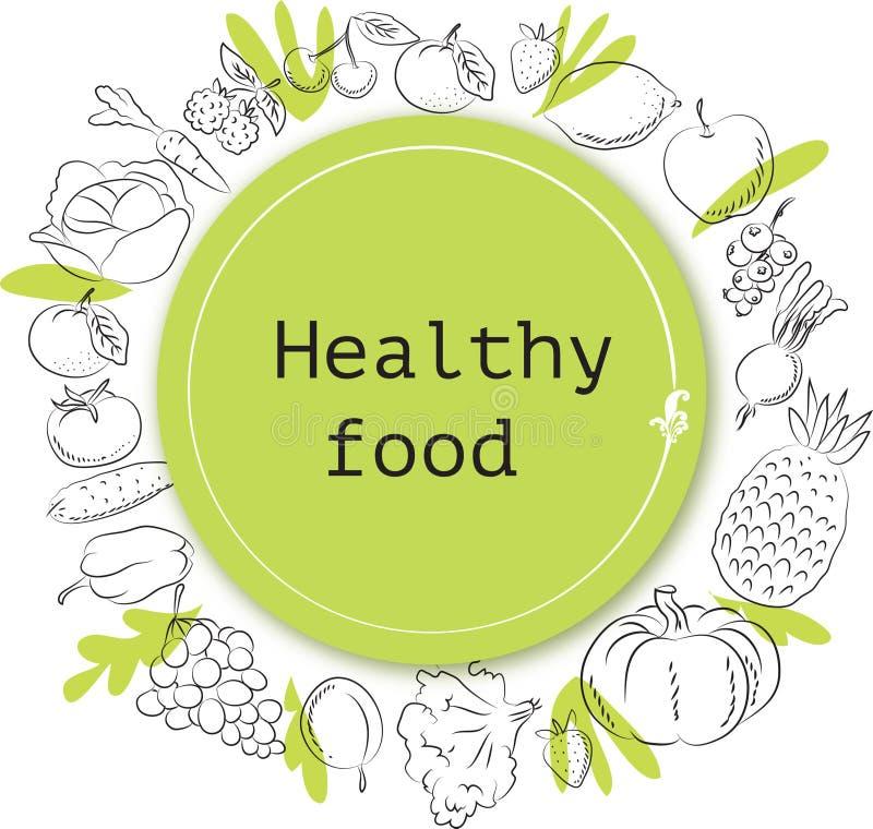 Las verduras y los garabatos de la fruta dan símbolos incompletos exhaustos stock de ilustración