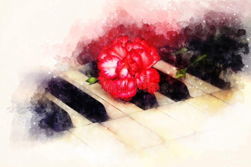 Las viejas llaves del piano del gand del vintage con un clavel rojo florecen, fondo suavemente borroso de la acuarela ilustración del vector