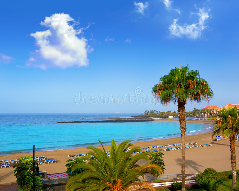 Las vistas beach Arona in costa Adeje Tenerife royalty free stock photos