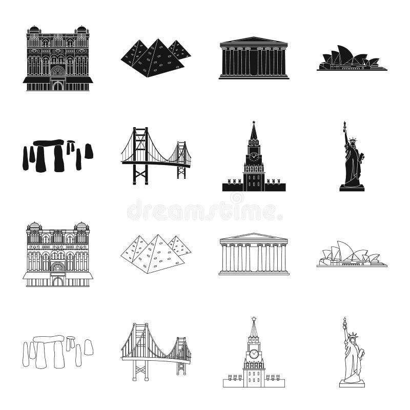 Las vistas de los países diferentes ennegrecen, resumen iconos en la colección del sistema para el diseño Web famoso de la acción ilustración del vector