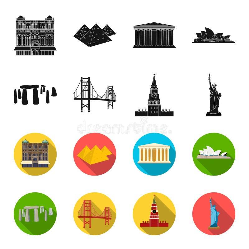 Las vistas de los países diferentes se ennegrecen, los iconos del flet en la colección del sistema para el diseño Web famoso de l stock de ilustración