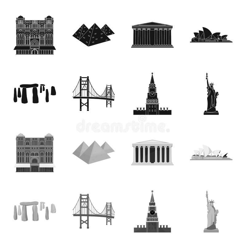 Las vistas de los países diferentes se ennegrecen, los iconos monocromáticos en la colección del sistema para el diseño Acción fa ilustración del vector