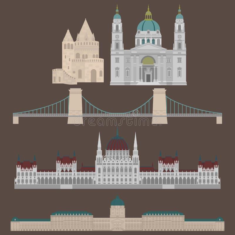 Las vistas húngaras de la ciudad en los elementos Buda de la arquitectura del viaje y del viaje de la señal de Budapest Hungría s stock de ilustración