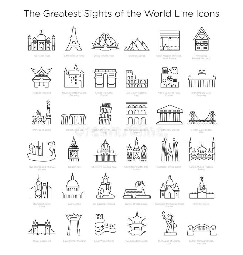 Las vistas más grandes de la línea iconos del mundo en vector Big Ben, torre Eiffel, Colosseum, pirámides ets ilustración del vector