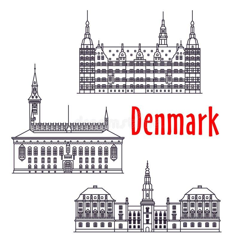 Las vistas simbólicas del viaje de Dinamarca enrarecen la línea icono ilustración del vector