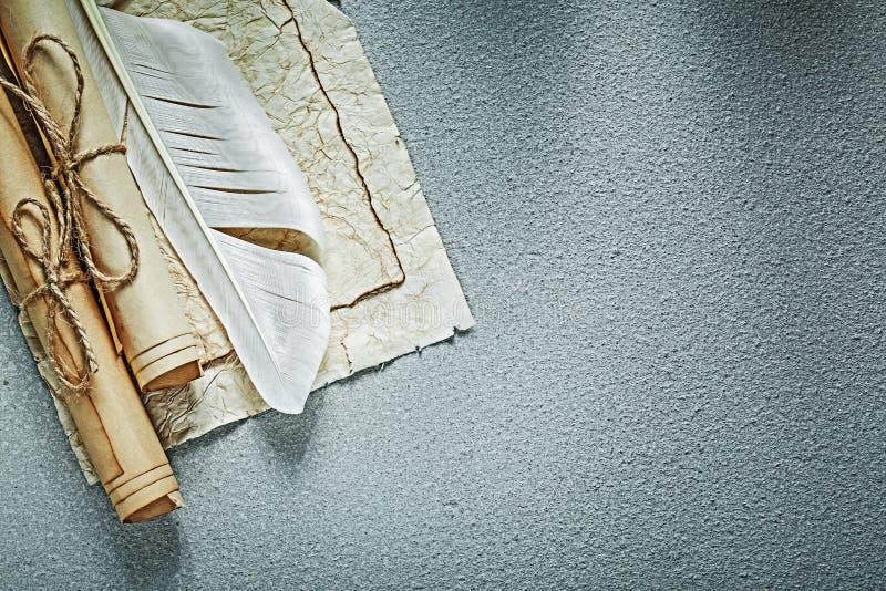 Las volutas de papel del vintage plume en la opinión superior del fondo gris imagenes de archivo