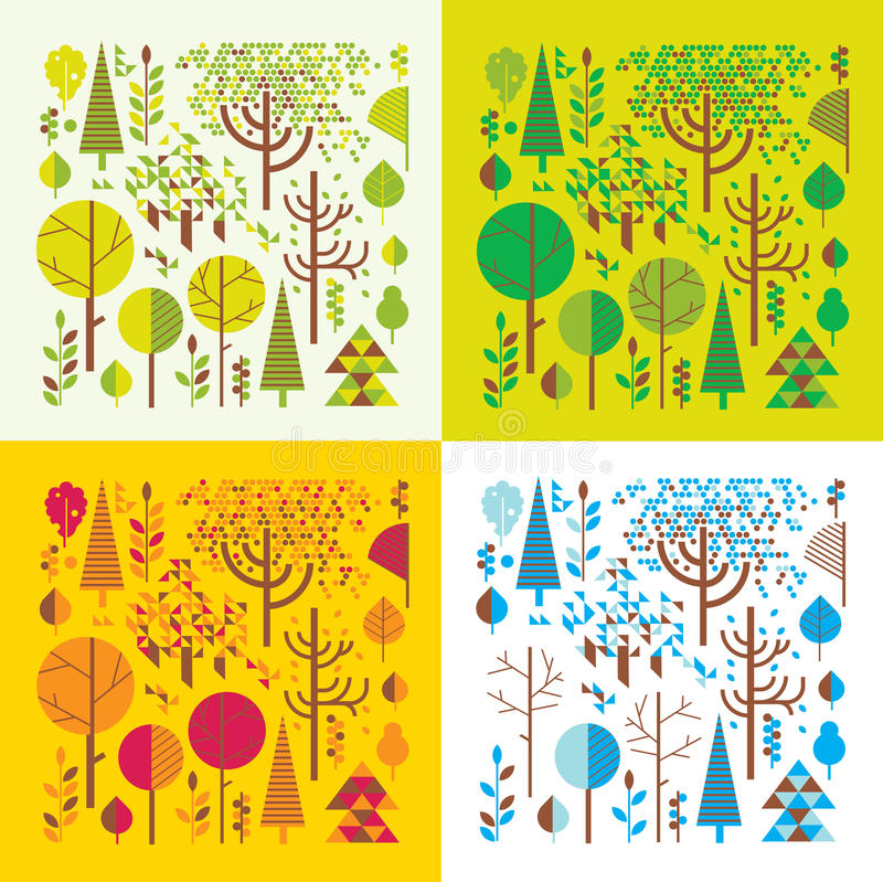 Las w cztery sezonach royalty ilustracja