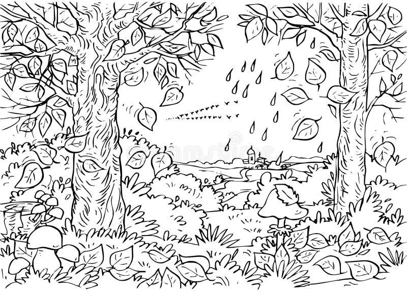 Las w jesień royalty ilustracja
