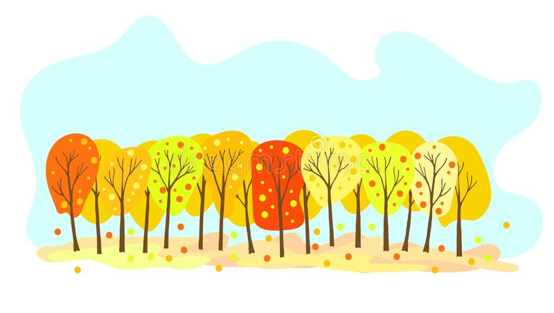 Las w jesieni z ręki Rysującymi Kolorowymi drzewami ilustracji