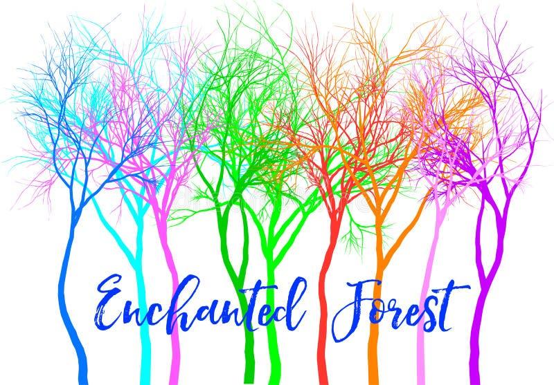 Las z kolorowymi drzewami, wektor ilustracji