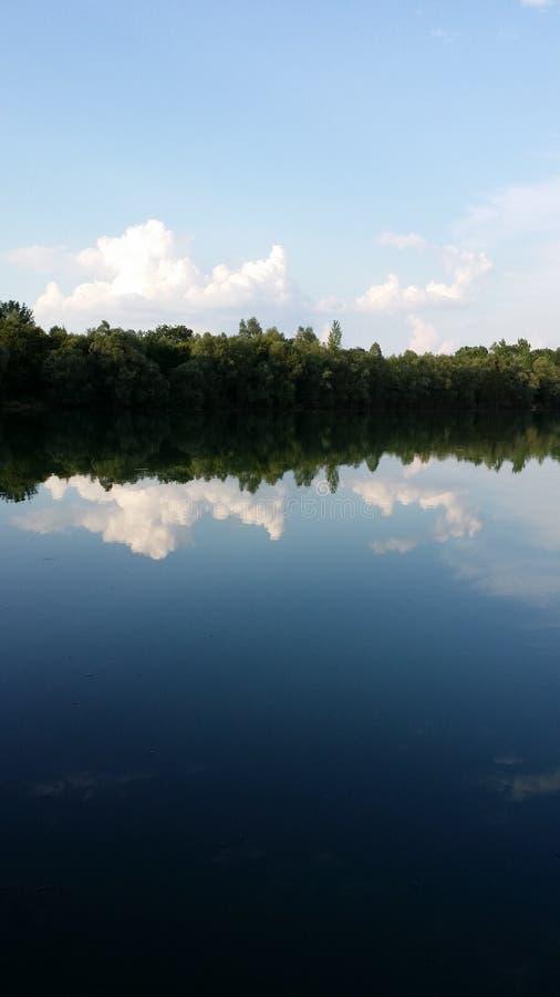 Las z wodą i chmurą zdjęcia royalty free