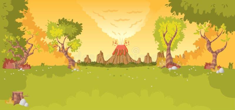 Las z wulkanem, ilustracja wektor