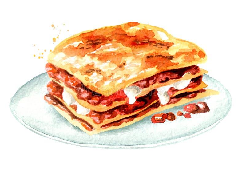 Lasagna σε ένα πιάτο Συρμένη χέρι απεικόνιση Watercolor που απομονώνεται στο άσπρο υπόβαθρο διανυσματική απεικόνιση