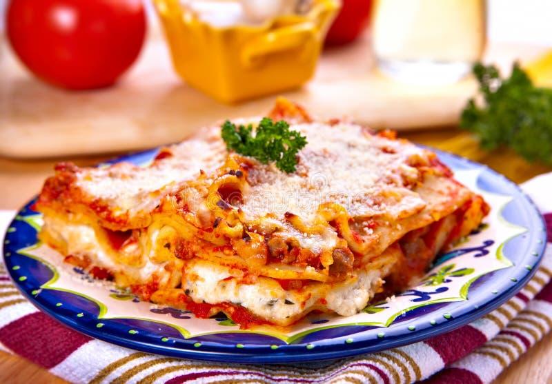 Lasagna. Delicious Italian traditional dish, meat lasagna with ricotta and and mozzarella