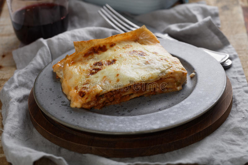 Download Lasagna Bolognese On A Rustic Table Stock Photo - Image: 93286618