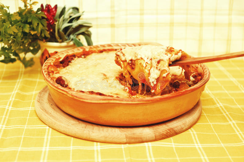 Download Lasagna bolognese slice stock image. Image of cuisine - 18884659