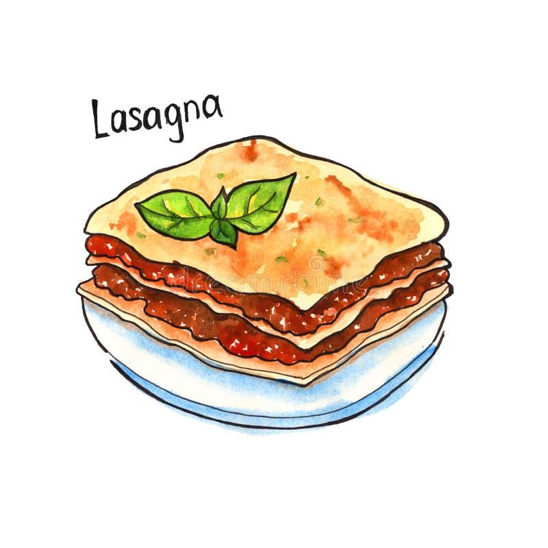 Lasagna carpaccio kuchni doskonale stylu życia, jedzenie luksus włoski odosobniony akwarela royalty ilustracja