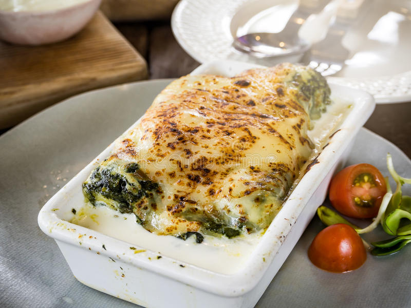 Lasagna in ceramic casserole dish royalty free stock photos