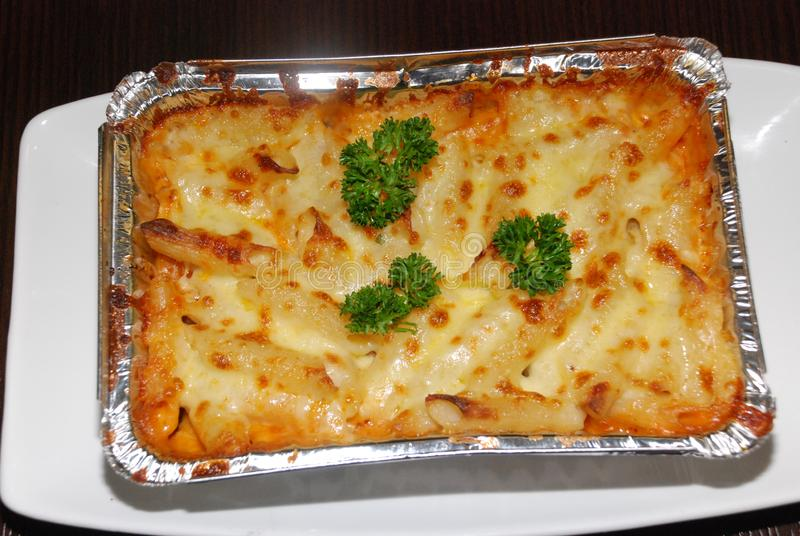 Lasagna with cheese view from top royalty free stock photo