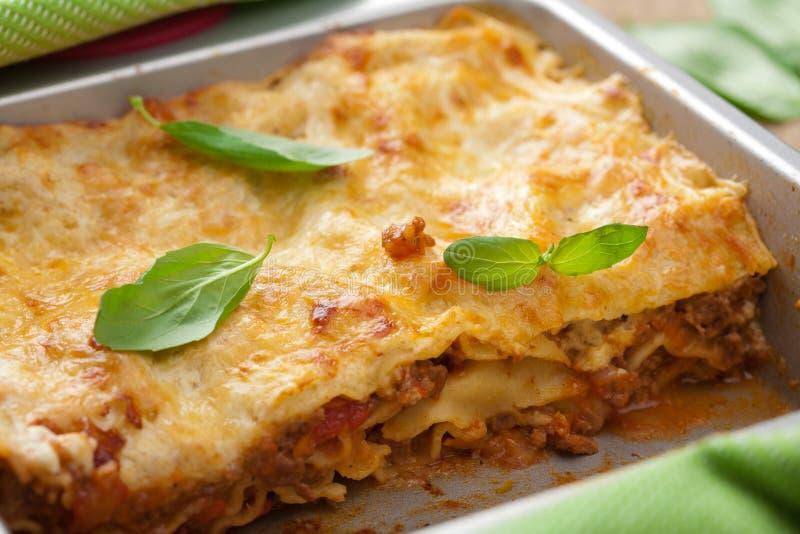 Lasagna clásico boloñés imagen de archivo libre de regalías