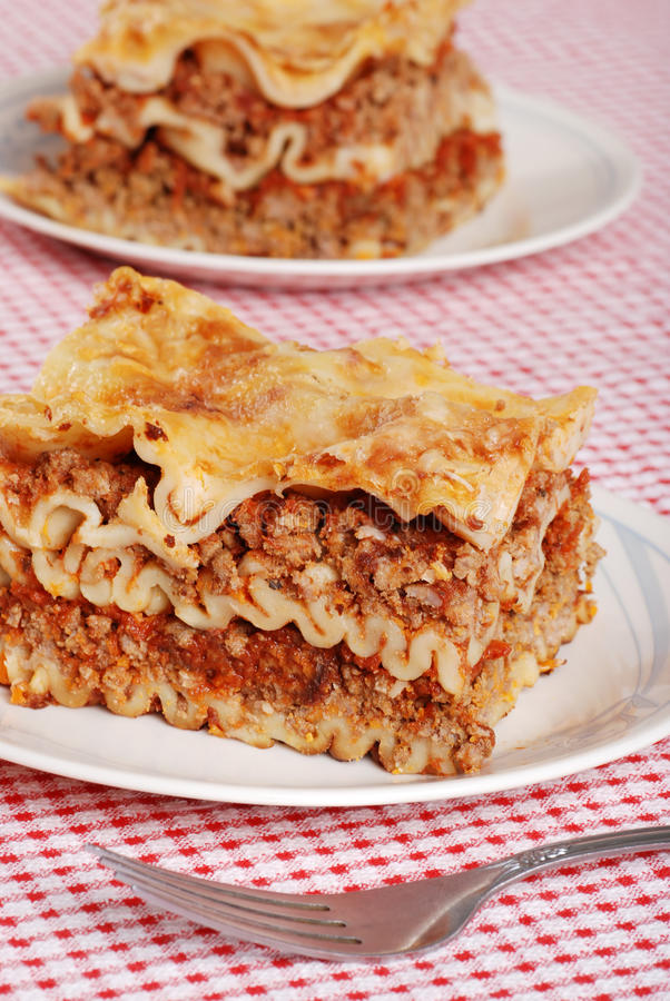 Download Lasagna with a fork stock image. Image of lasagne, made - 11548277
