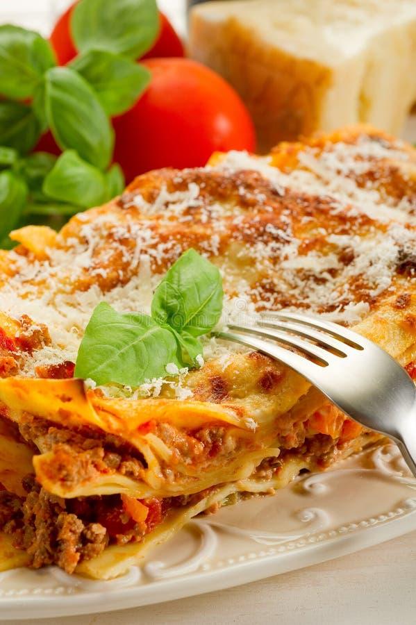 Lasagna met ragu royalty-vrije stock foto
