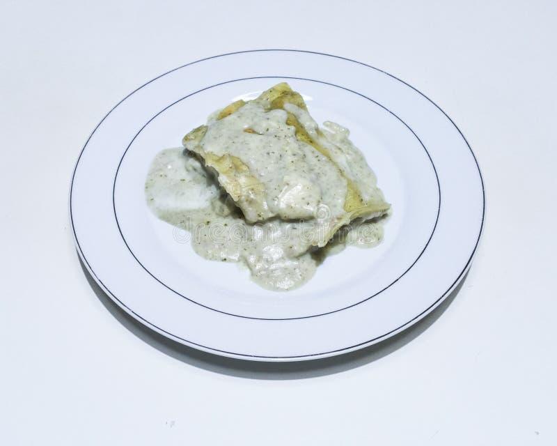 Lasagna with pesto stock photo