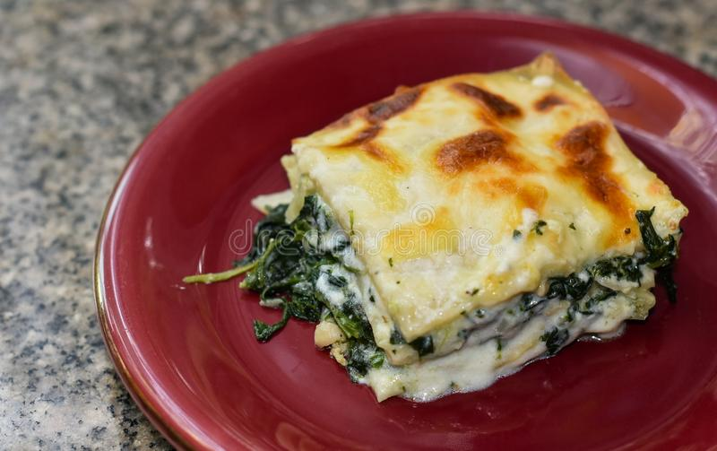 Lasagna in red dish royalty free stock photography