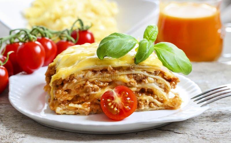 Lasagna's, traditionele Italiaanse schotel royalty-vrije stock foto