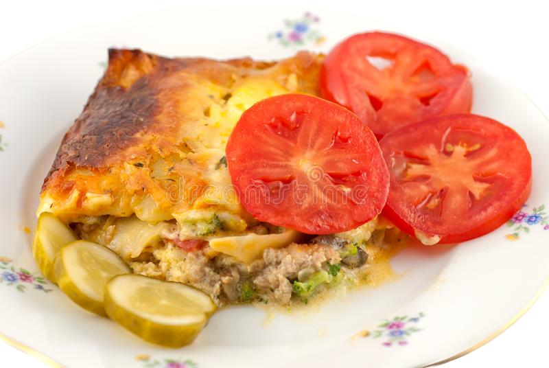 Download Lasagna And Salad stock image. Image of eating, course - 16117325