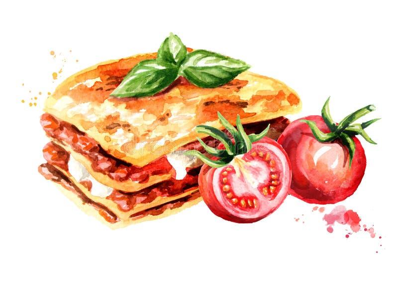 Lasagna z dojrzałymi pomidorami Akwareli ręka rysująca ilustracja odizolowywająca na białym tle, royalty ilustracja