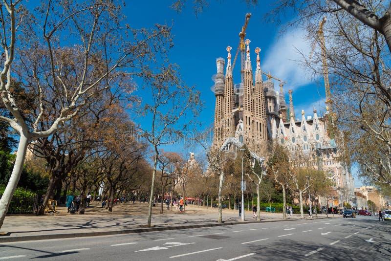 LaSagrada Familia domkyrka, Barcelona, Spanien royaltyfria bilder