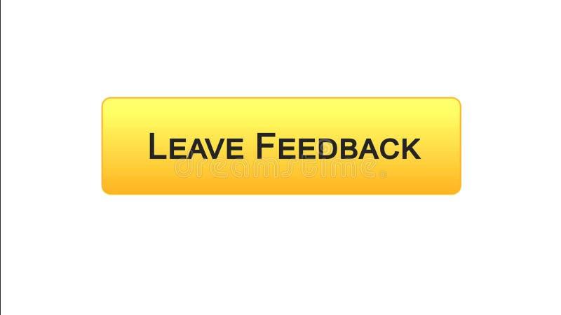 Lasci a bottone dell'interfaccia di web di risposte il colore arancio, le osservazioni del cliente, progettazione del sito illustrazione di stock