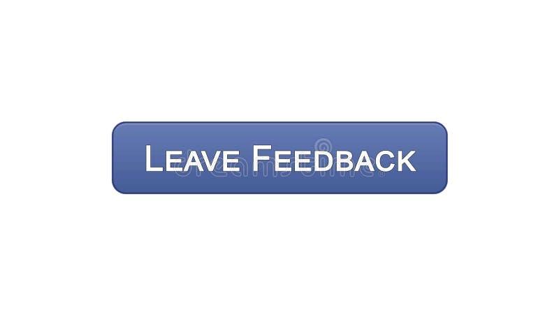 Lasci a bottone dell'interfaccia di web di risposte il colore viola, le osservazioni del cliente, progettazione del sito illustrazione di stock