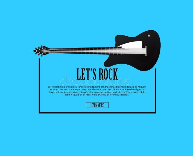 Lasci il manifesto della roccia del ` s con la chitarra acustica classica royalty illustrazione gratis