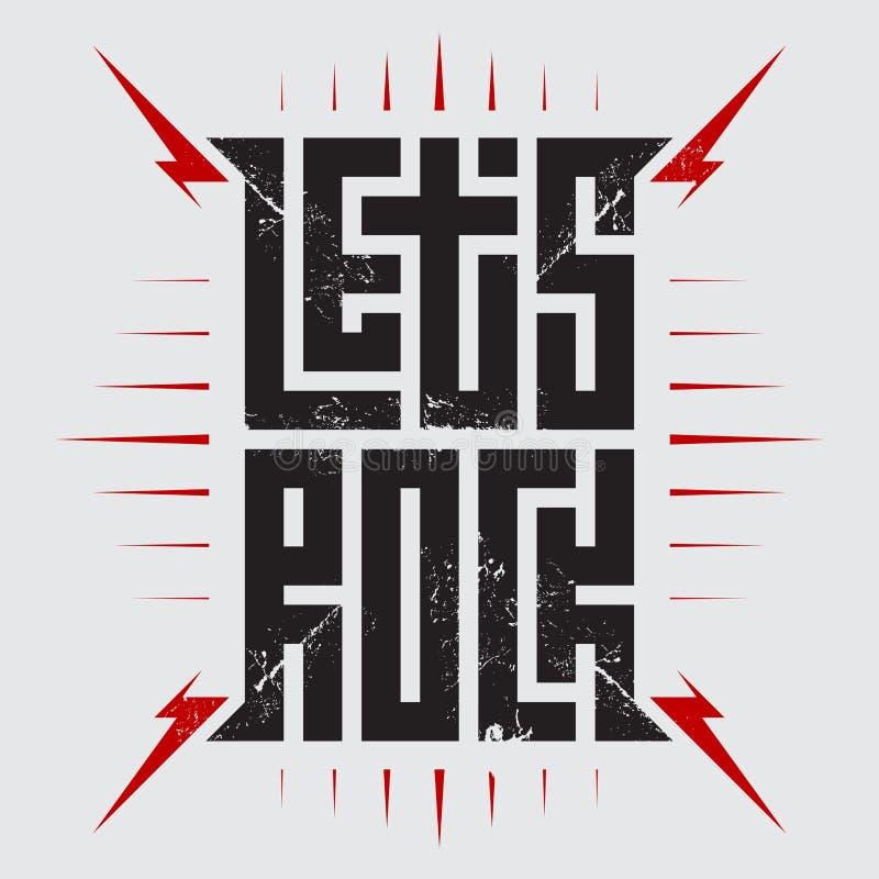 Lasci il manifesto di concerto di musica rock del ` s con i fulmini rossi Gli abiti della maglietta raffreddano la stampa Progett royalty illustrazione gratis