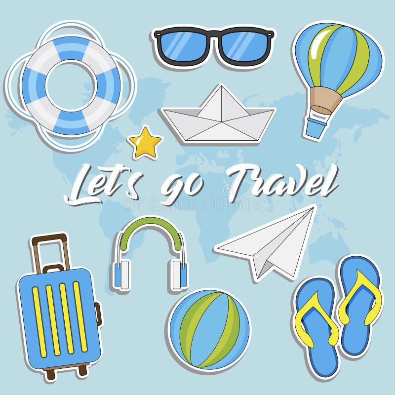 Lasci il ` s andare viaggio Raccolta dell'autoadesivo di viaggio di estate, illustrazione isolata vettore su fondo blu con le map illustrazione di stock
