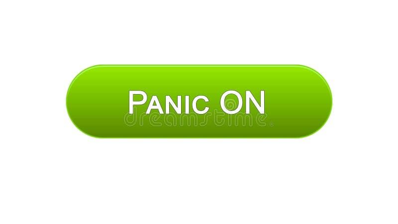Lasci prendere dal panico sul bottone dell'interfaccia di web cliccato con colore verde del cursore del topo, progettazione del s royalty illustrazione gratis