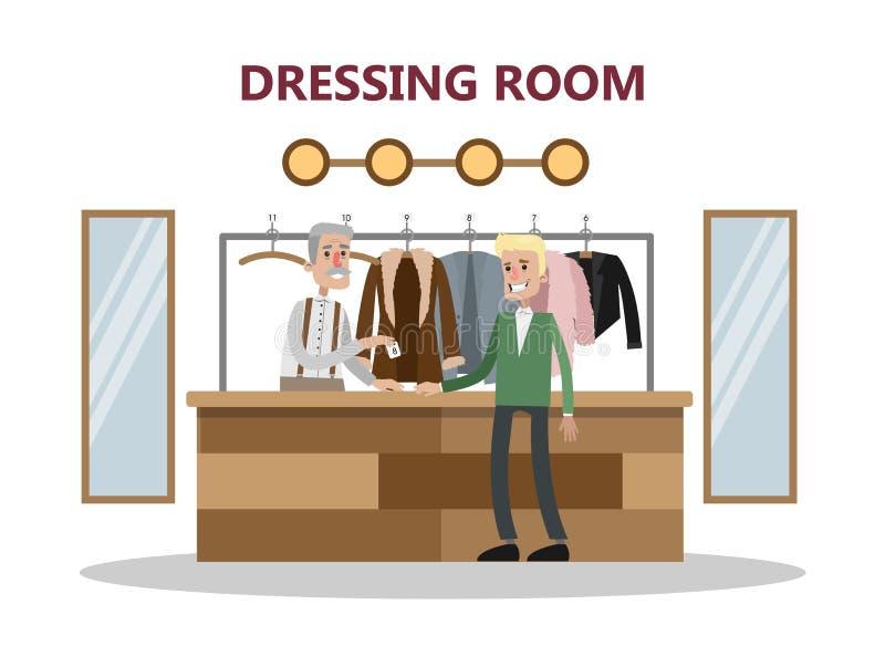 Lasciando i vestiti al guardaroba royalty illustrazione gratis