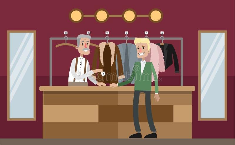 Lasciando i vestiti al guardaroba illustrazione di stock