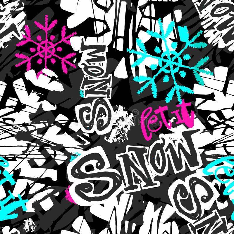 Lasciate nevicare, modello espressivo dell'inchiostro di inverno del mestiere senza cuciture della mano illustrazione vettoriale