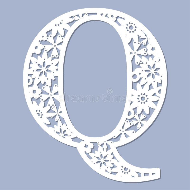 Laser-Ausschnittmuster Buchstabe Q Vektor vektor abbildung