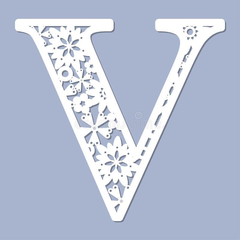 Laser-Ausschnittmuster Zeichen V Vektor lizenzfreie abbildung