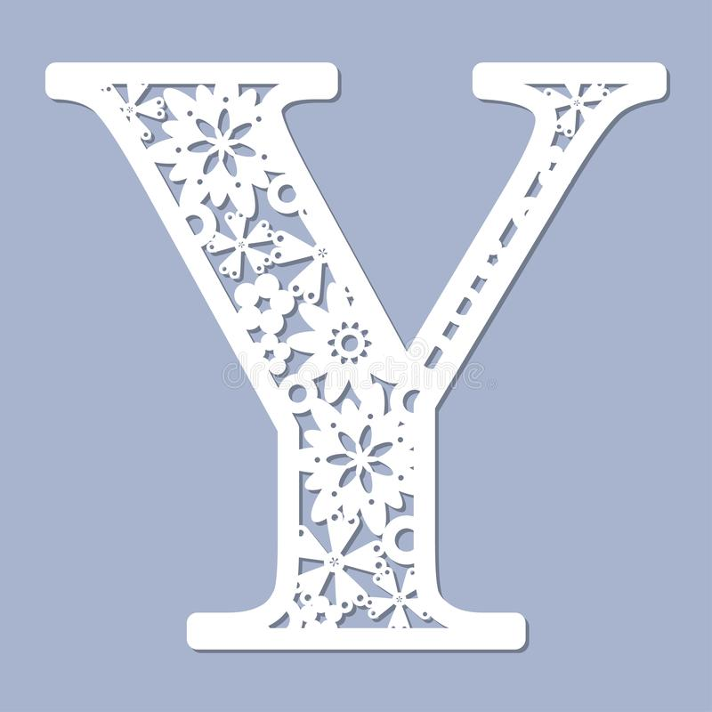 Laser-Ausschnittmuster Zeichen Y Vektor vektor abbildung