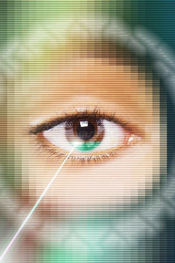 Laser Beam On Eye. Digital composite of laser beam on eye stock image